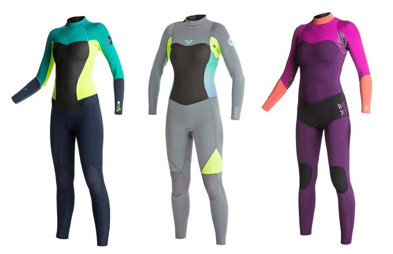 3 - 4. ROXY Syncro 3/2 wetsuits 5. ROXY XY 3/2 wetsuit