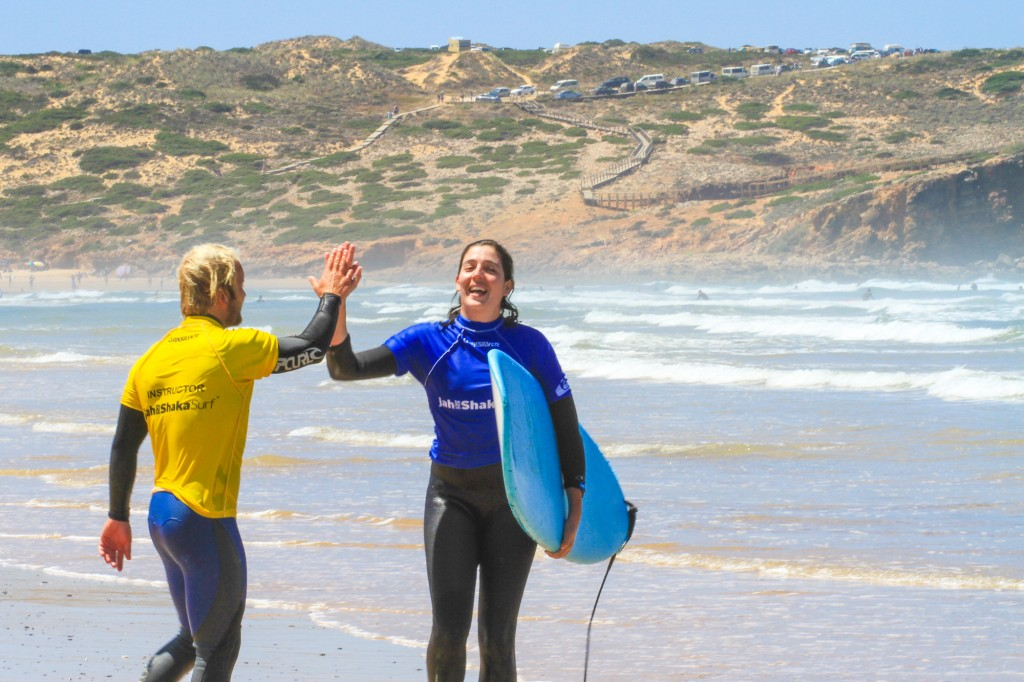 Team work couples surf holiday